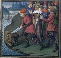 Galaad retire l'épée de la roche