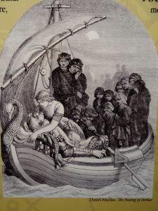 Morgane emmène le roi Arthur mourant